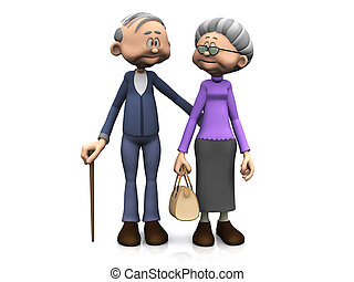 A sweet old cartoon man and woman smiling and looking at eachother. White background.