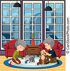 Elderly couple playing with pets