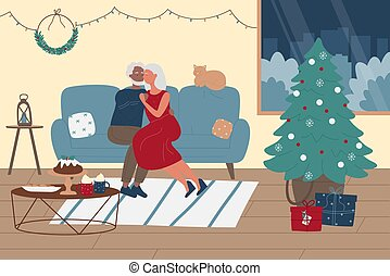 Elderly people spend time together, Christmas winter holiday
