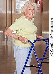 Elderly Woman with Zimmerframe