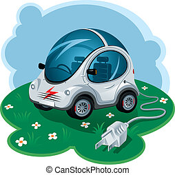 Green Energy Car. Vector Illustration