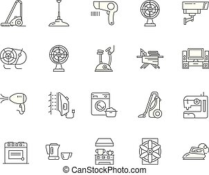 Electric housewares line icons, linear signs, vector set, outline concept illustration