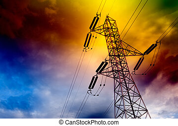 Electrical transmission tower landscape. Energy concept