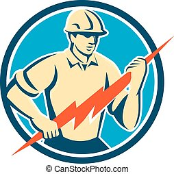 Illustration of an electrician construction worker holding a lightning bolt viewed from the front set inside circle done in retro style on isolated background.