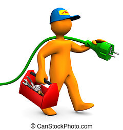 Orange cartoon character as electrician with toolbox and connector. White background.