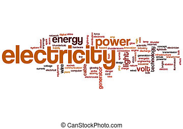 Electricity concept word cloud background