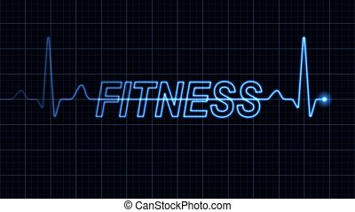 Blue electrocardiogram creating fitness word. Part of a series.