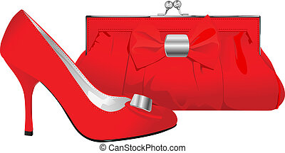 vector realistic red shoe and purse on white background