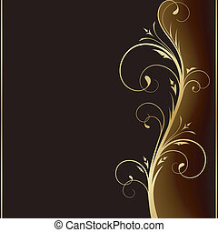Dark brown square background with golden scrolls on the right hand side. Use of 6 global colors, linear gradients, blend.