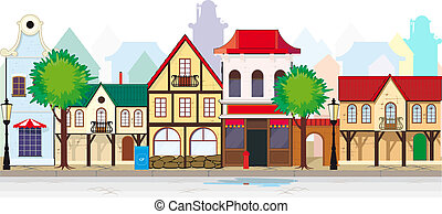 Elegant old, antique street of a small town. You can, if desired, add length