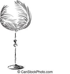 Elegant stylized wineglass