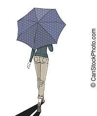 Elegant slim girl wearing at autumn clothes goes under umbrella. Vector color hand drawing. Back view.