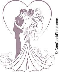 elegants bride and fiance