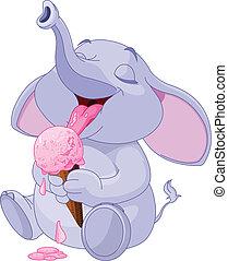 Elephant eating ice cream