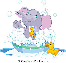Elephant having a bath