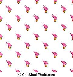 Elephant on ball pattern, cartoon style