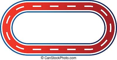 Elliptical race circuit image. Car road track Icon