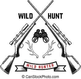 Emblem template of hunting club emblem with deer horns, guns. Design element for logo, label, sign, poster, t shirt. Vector illustration