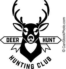 Emblem template of hunting emblem with deer head. Design element for logo, label, sign, poster, t shirt. Vector illustration