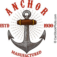 Emblem template with anchor. Design element for logo, sign, badge, t shirt. Vector illustration