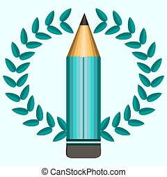 emblem with laurel wreath and pencil for education design