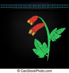 Embroidered flowers on dark green cloth.