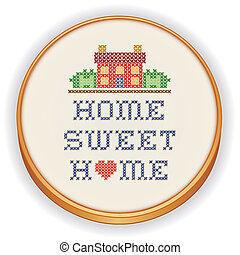 Retro wood embroidery hoop with decorative cross stitch needlework design, Home Sweet Home with a big red heart, needlework house in landscape graphic, isolated on white background.