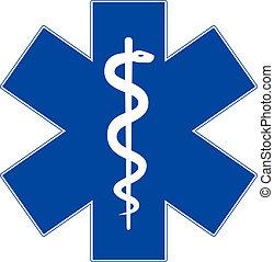 Emergency medicine symbol, star of life, isolated on white