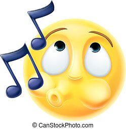 A cartoon emoji emoticon character whistling a tune happily