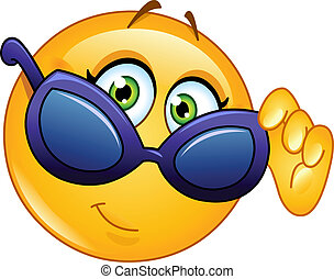 Female emoticon looking over sunglasses