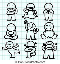 Emotion cartoon on blue graph paper.