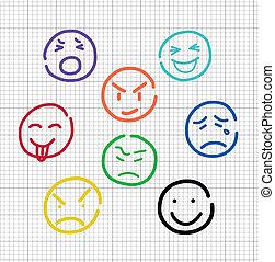 emotion sketch on notebook stripes