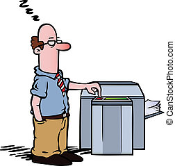 Employee standing half asleep at the copy machine, waiting for documents to be photocopied.