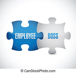 employee boss puzzle pieces illustration design over a white background