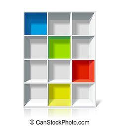 Vector illustration of an empty bookshelf