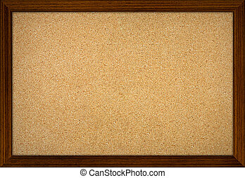 Empty office cork notice board with wood frame