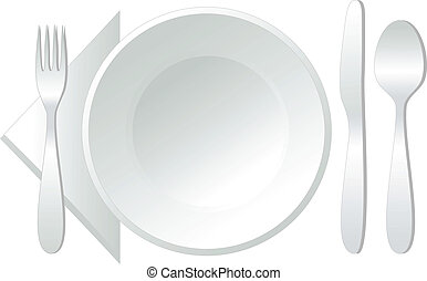 empty white plate with spoon, knife and fork, vector