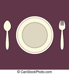 Empty Plate With Spoon and Fork.