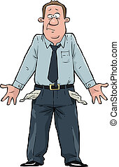 A man with empty pockets vector illustration