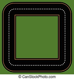 Empty square track / racetrack with 2 lanes