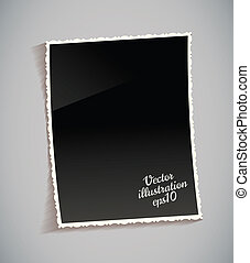 Empty vintage photo frame on table. Black and white. Isolated on gray background. Vector illustration eps 10