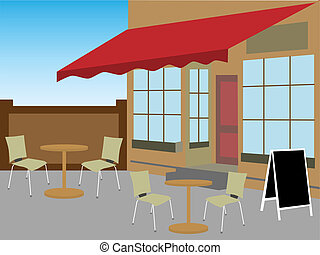 Enclosed cafe courtyard chairs tabl