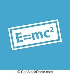 Energy equivalence icon, simple white image isolated on blue background