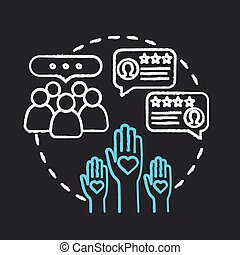 Engaging online community chalk RGB color concept icon. Communication with audience. Customer loyalty, brand credibility idea. Vector isolated chalkboard illustration on black background