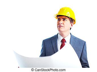 Engineer businessman. Isolated on white background.