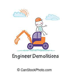 Engineer Demolitions sits on the excavator