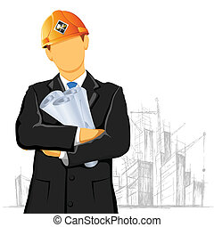 illustration of engineer with blueprint on under construction site
