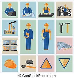 Engineering and construction icons set of workers tools computer data safety and warning vector illustration