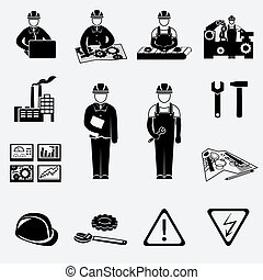 Engineering construction and industrial icons set of project work symbols vector illustration