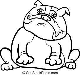 english bulldog dog cartoon for coloring book